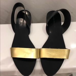 Zara black and gold sandals size 41